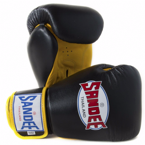 Sandee Authentic Boxing Gloves - Black/Yellow